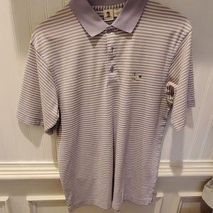Mens Purple and white stripe polo